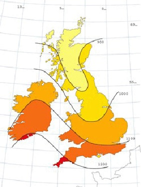 Solar radiation map UK